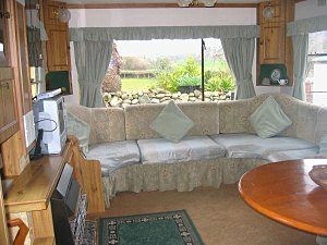 lounge in the holiday caravan